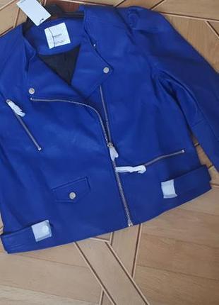 Куртка кожаная из искусственной кожи mango xl, косуха, байкер 13053718