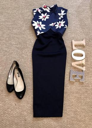 Платье по фигуре в цветы misslook