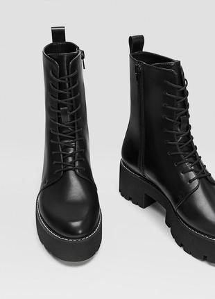 Новые ботинки на платформе stradivarius (36,37,38,39,40)