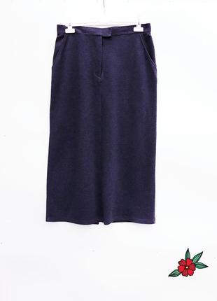 Трикотажная юбка с карманами плотная теплая юбка меланжевая длинная юбка