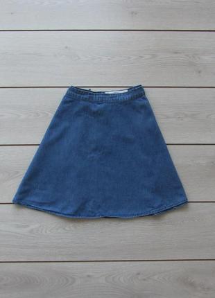 Джинсовая легкая юбка солнце клеш 100% коттон от new look yes yes р. m