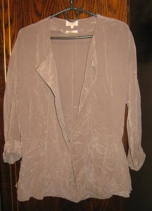Блуза рубашка жакет кардиган баска чистый шелк пудровый цвет modern rarity