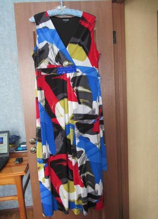 Яркое длинное трикотажное платье от debenhams р.20 4xl. заходите и выбирайте!