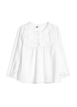 Нарядная блуза с кружевом h&m для девочки