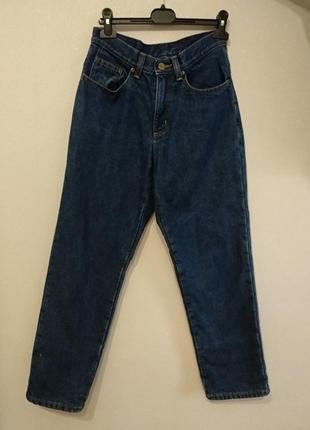 Теплые мом джинсы с высокой посадкой плотный джинс