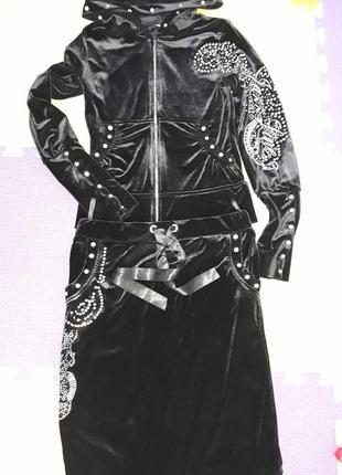Велюровый костюм с юбкой