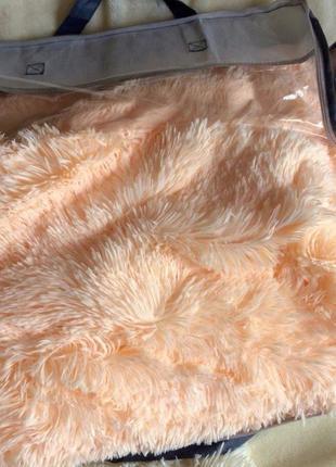 """Меховой плед-покрывало """"травка"""" с длинным ворсом 220х240 см """"персик"""""""