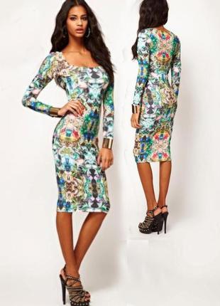 Платье asos миди с мозичным принтом