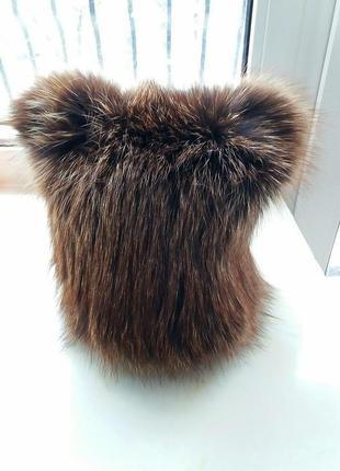Трендовая меховая шапка с ушками