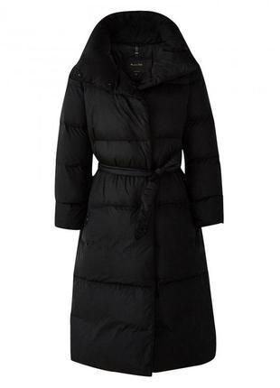 Новый пуховик massimo dutti поясом приталенный длинный черный пальто морозы пух перо