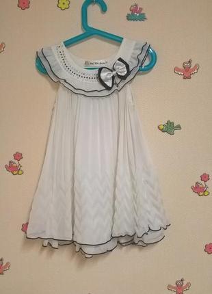 Праздничное белое шифоновое платье