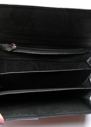 Большой кожаный кошелек черная роза, 100% натуральная кожа, есть доставка бесплатно4 фото