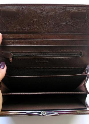 Большой кожаный кошелек кофейная роза, 100% натуральная кожа, есть доставка бесплатно4 фото