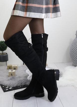 Новые черные зимние замшевые сапоги ботфорты размер 36