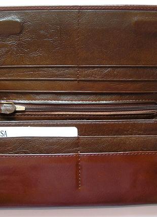 Большой кожаный кошелек кофейная роза, 100% натуральная кожа, есть доставка бесплатно3 фото