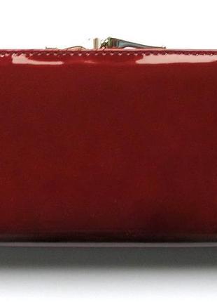 Большой вишневый кожаный лаковый кошелек, 100% натуральная кожа, есть доставка бесплатно2 фото