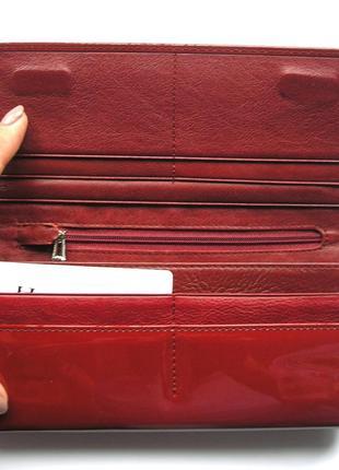 Большой вишневый кожаный лаковый кошелек, 100% натуральная кожа, есть доставка бесплатно5 фото