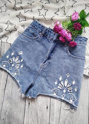 Джинсовые шорты из плотного денима с вышивкой от 91cotton on