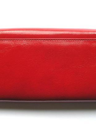 Большой кожаный кошелек красная роза, 100% натуральная кожа, есть доставка бесплатно3 фото