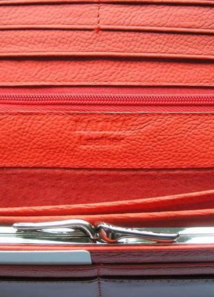 Большой кожаный кошелек красная роза, 100% натуральная кожа, есть доставка бесплатно5 фото
