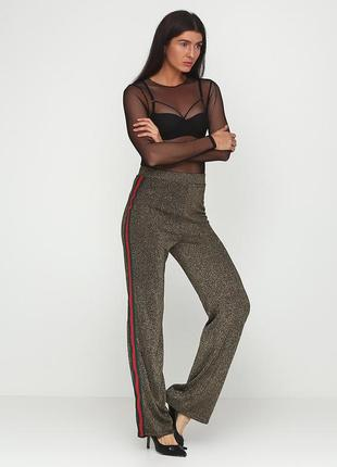 Шикарные брюки misspap! металлик, люрекс, блестящие, с лампасами! лампасы!