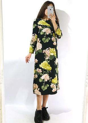 Цветочное платье миди с разрезами