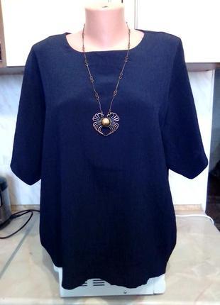 Английская брендовая темно-синяя блуза, идеально в офис, пог и поб 69
