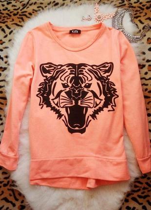 Яркий оранжевый неон свитшот с черным принтом рисунок тигра джемпер