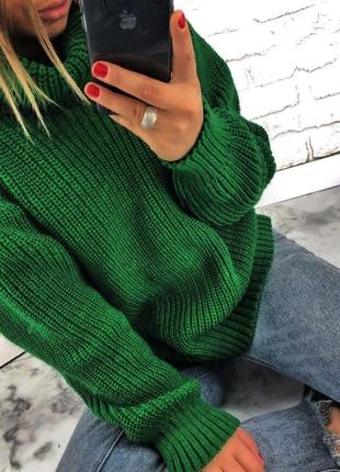 10 цветов вязаный зимний изумрудный свитер с горлом кофта объемная вязка с-м-л