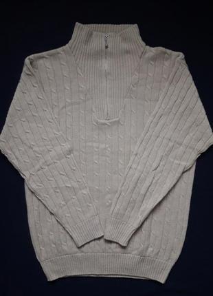 Крутой вязаный свитер принт косы 30% шерсть casual clothes company