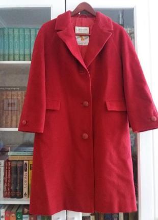 Пальто винтаж  люкс шерсть однобортное красное