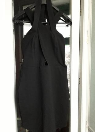 Женское нарядное вечернее клубное черное платье boohoo с переплетами мини футляр
