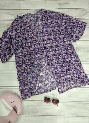 Легкая блуза, накидка, парео, оверсайз, на размер от 16 до 22