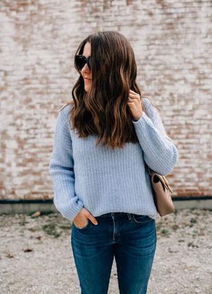 Объёмный мягкий небесно-голубой свитер-джемпер с шерстью альпаки