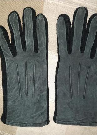 Кожаные мужские зимние перчатки на флисе размер s-m