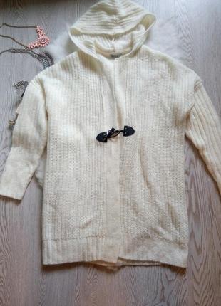 Новый белый вязаный кардиган с капюшоном накидка с рукавами теплая janina мантия