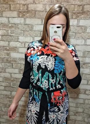 Платье с цветочным принтом прямого кроя
