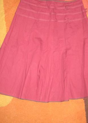 Пышная юбка цвета бордо из натуральной ткани