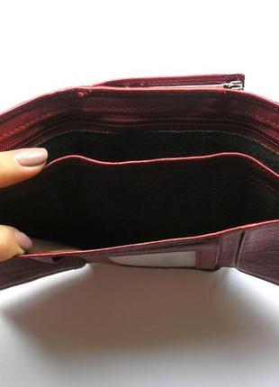 Кожаный кошелек портмоне вишневая роза, 100% натуральная кожа, есть доставка бесплатно2 фото