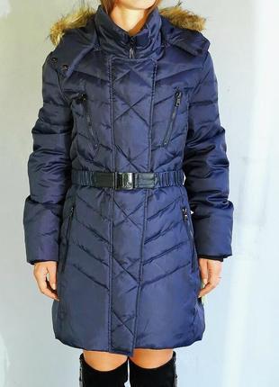 Пуховик женский фирменный sam edelman синий оригинал размер l очень теплый