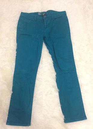 Женские джинсы штаны бирюзовые