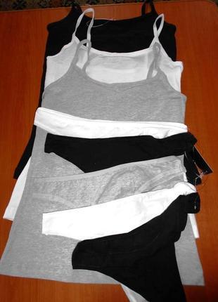 Комплект женского белья-сет 5 трусиков тонг(стринги) м-ки и 3 маечки s-m