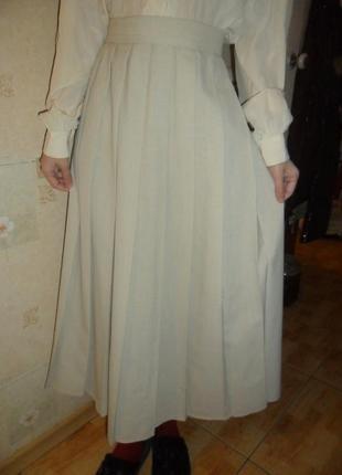 Нюдовая миди юбка