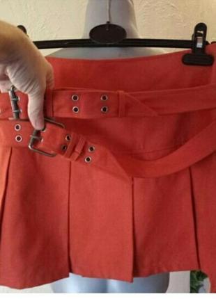 Оранжевый-тренд 2019!брендовая яркая юбка 44-46 р h&m