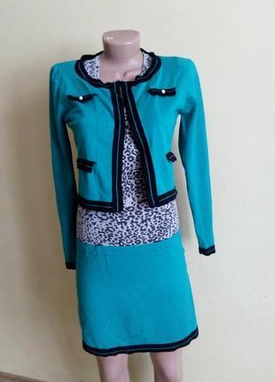 Платье с болеро р. s леопардовый принт