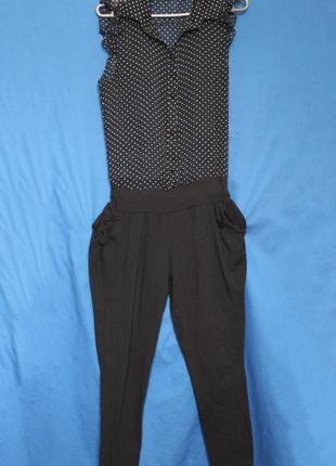 Женский трикотажный комбинезон блузка шифон брюки чинос