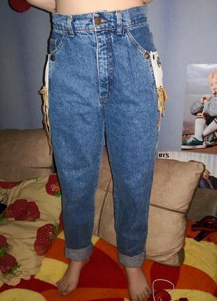 Винтажные джинсы мом италия со шнуровкой плотный коттон cinema
