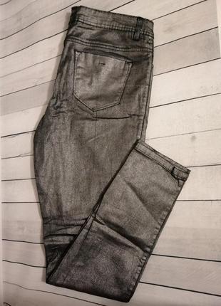 Джинсы брюки штаны с напылением серебро
