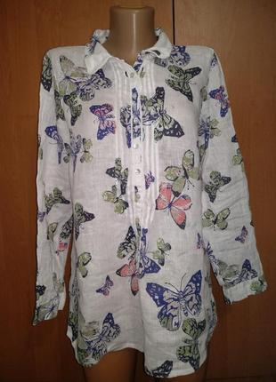 Нежная льняная блузка туника лён