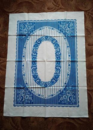 Скатерть ткань лен коттон хлопок белая с синим орнаментом 120х92 см ссср